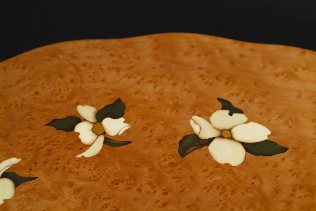Dogwood Table Detail holly flowers veneer marquetry wood art