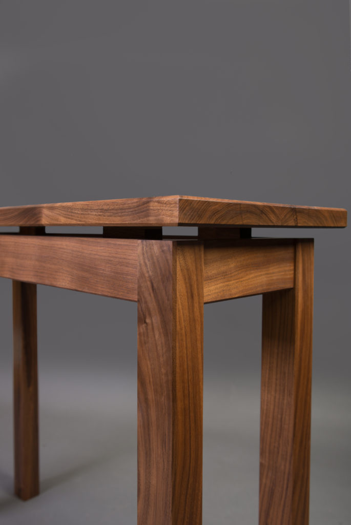 Walnut hall table floating top
