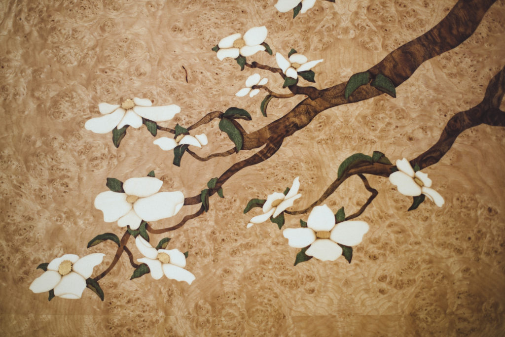 Dogwood Art Panel Detail marquetry wood veneer wall