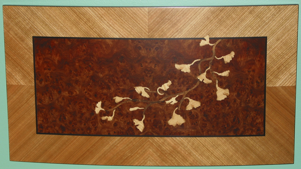 Ginko Art Panel, Curved marquetry inlay wood veneer
