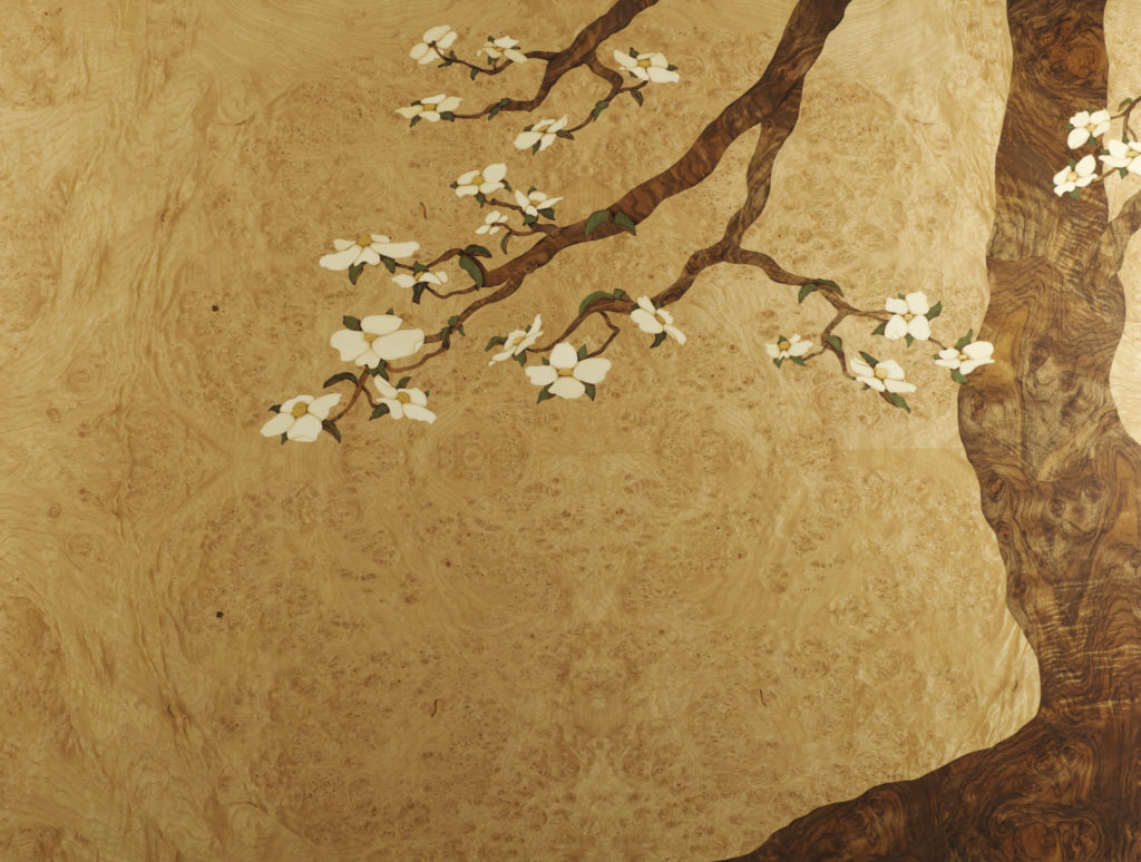 "Marquetry Art Panel, Dogwood, 35"" x 45"""