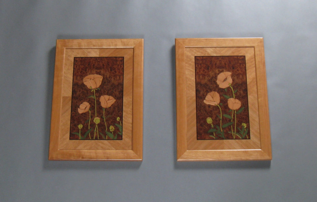 "Marquetry Art wall Poppy panels each 17 3/8"" x 24"" veneer wood"