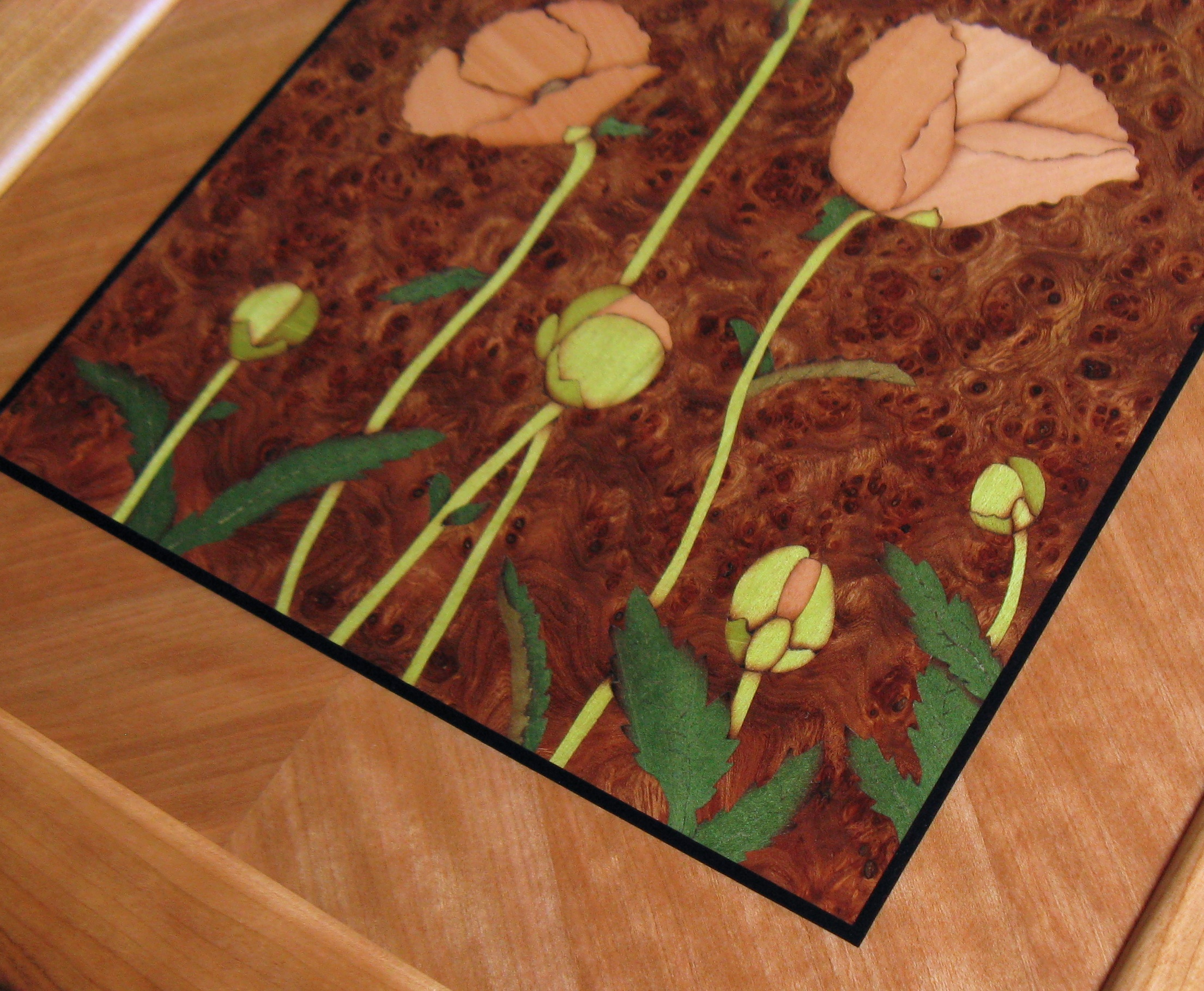 Poppy Art Panel Close Up detail Marquetry veneer wood