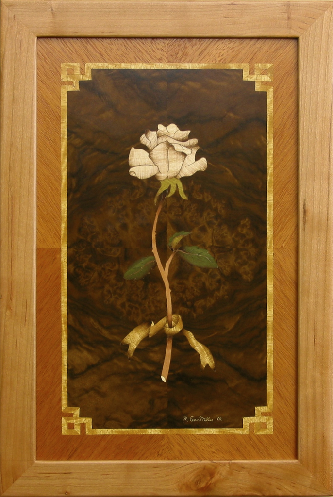 My first Marquetry effort with Paul Schurch veneer wood inlay art wall panel