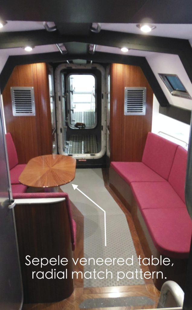 Sapele Veneered Yacht Table starburst match wood radial match