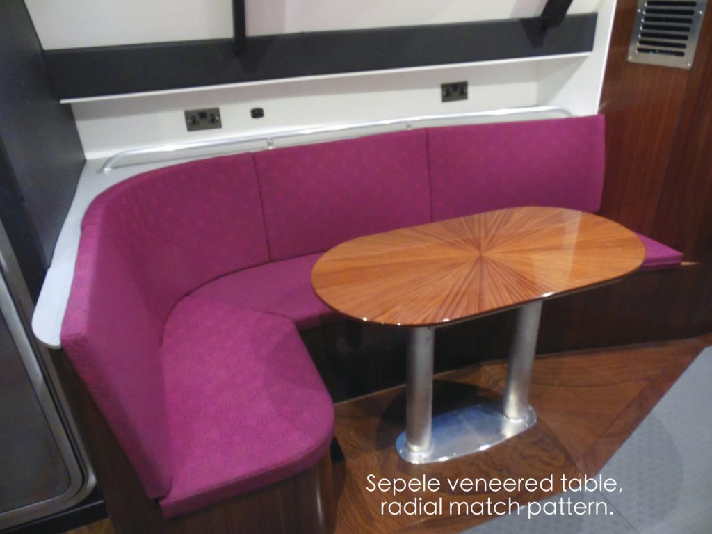 Sapele Veneered Yacht Table radial match wood starburst match