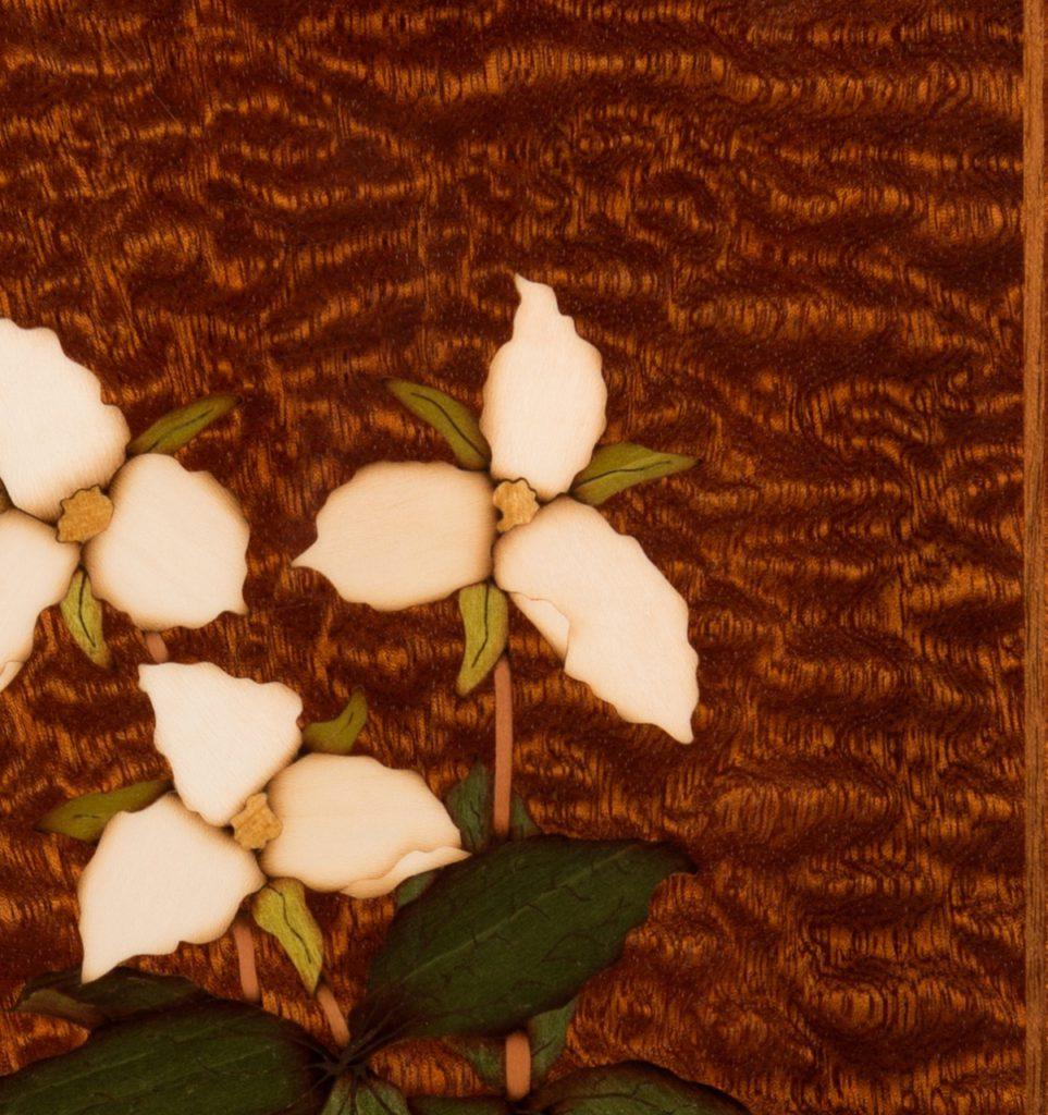 Marquetry Trillium Art Panel Detail veneer sapele pommele flowers