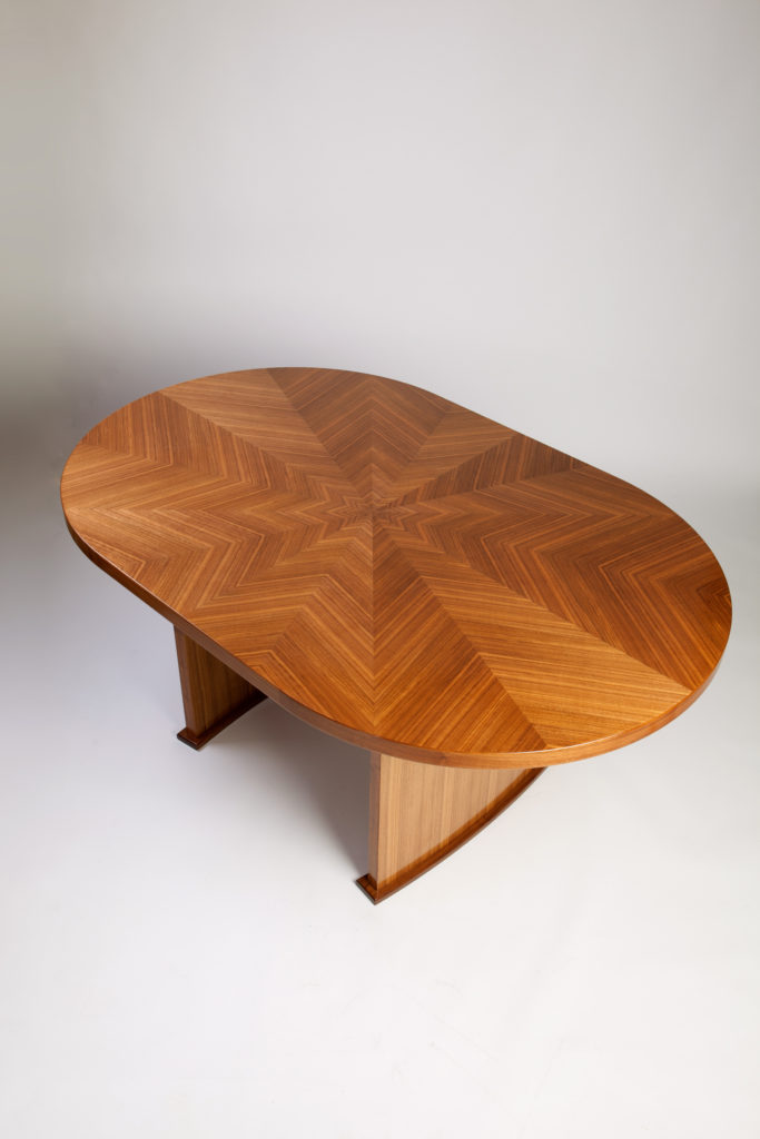Walnut Dining Table chevron match herringbone match starburst match