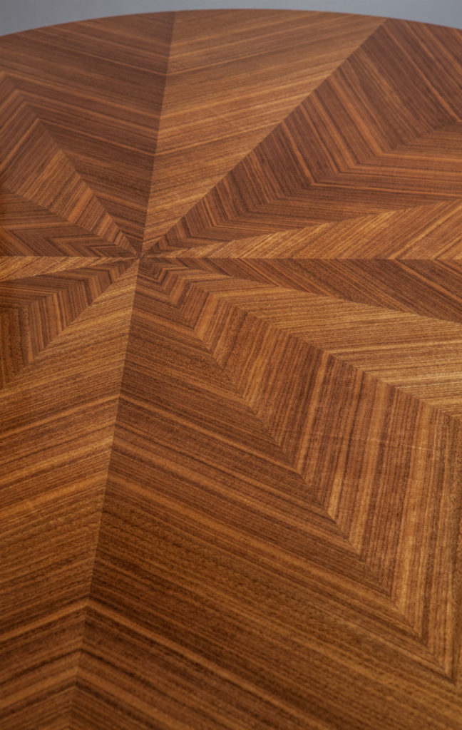 Walnut Dining Table Close Up detail chevron veneer match herringbone veneer match radial veneer match starburst veneer match