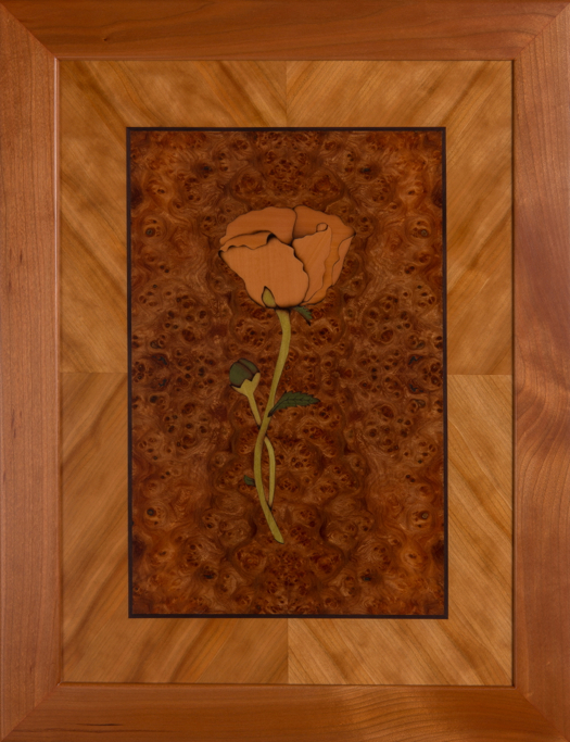 Poppy, Single Stem Art Wall Panel marquetry wood veneer