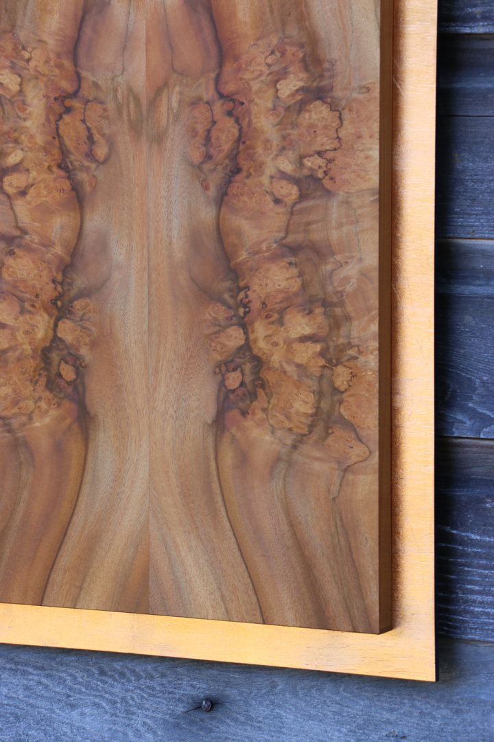 "Pepperwood Burl With Copper Leaf 16""W x 38""T veneer, veneer art, art wall panel, wood"