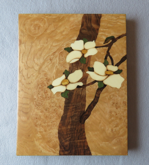 art, art wall panel, marquetry, veneer, wood, woodart, art dogwood