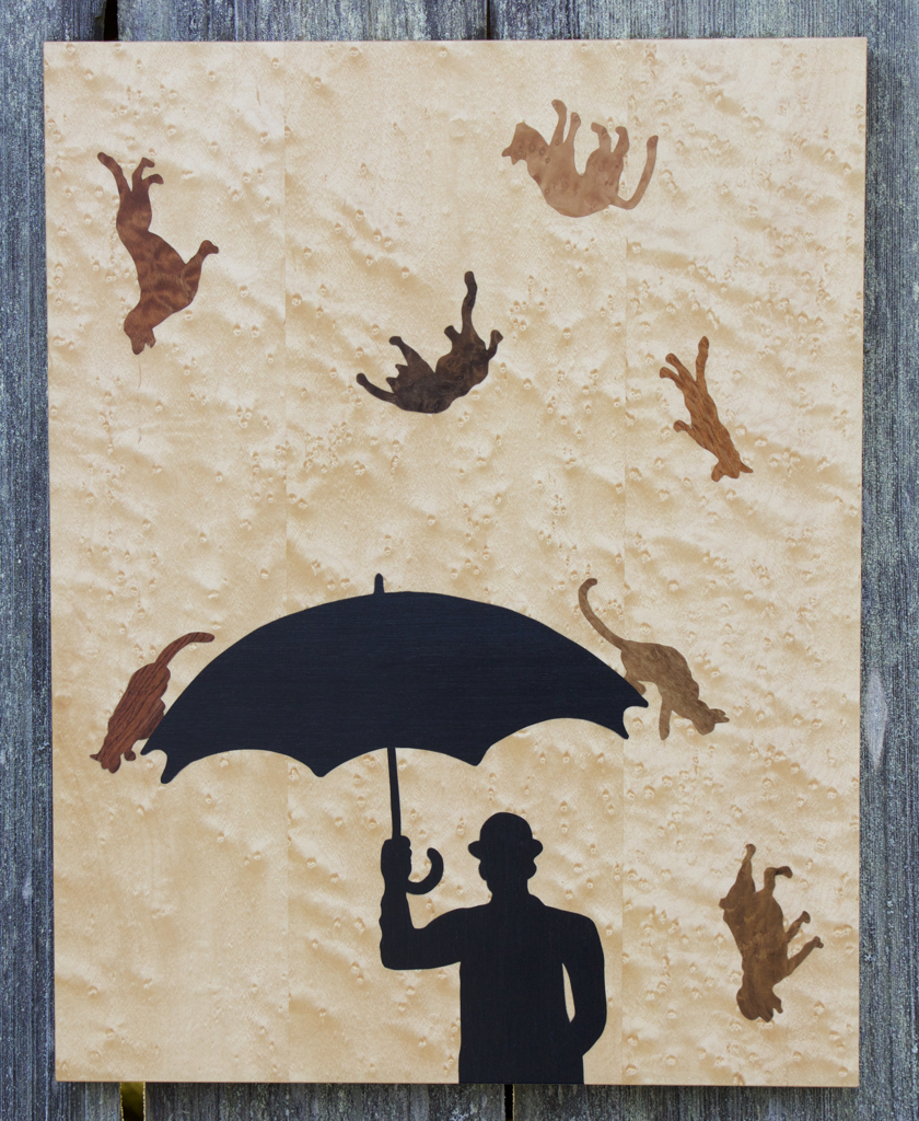 Raining Cats and Dogs, art, art wall panel, veneer, veneer art, VeneerArtistry, woodwork