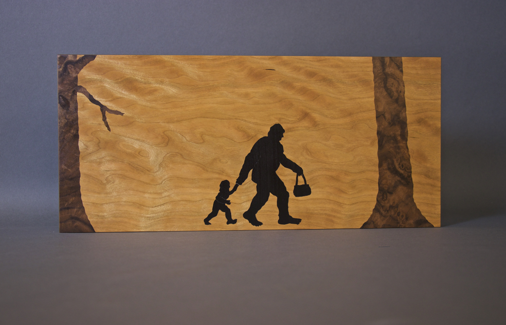 Sasquatch Mum, art, art wall panel, lost mountain design, wood, veneer, veneered art, veneer art