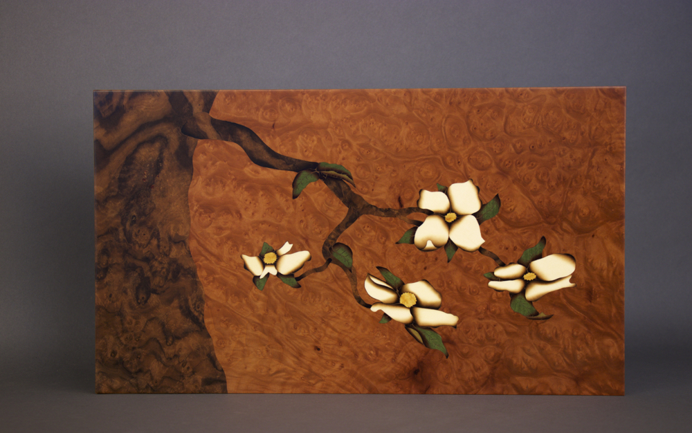 Large Dogwood Branch 2, lostmountaindesign, wood, woodworking, wood, veneer, veneer art, art wall panel, veneer