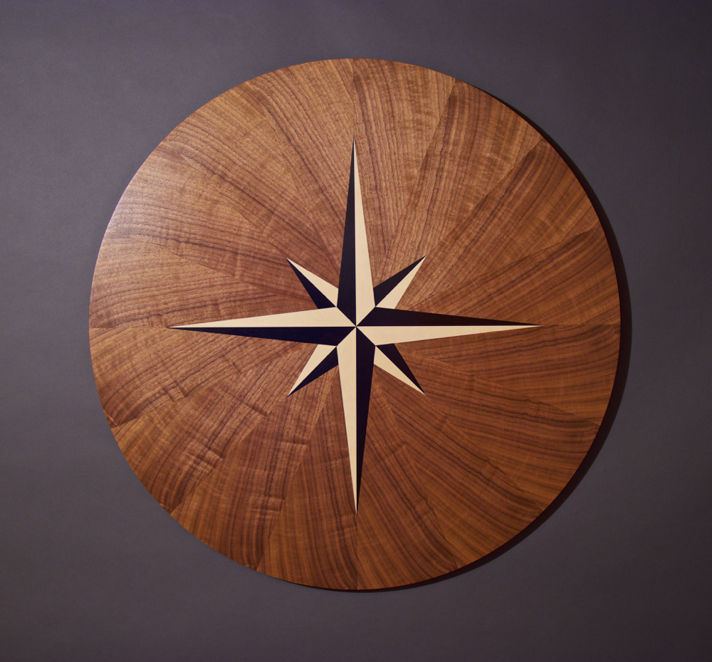 Spinning Compass Rose, woodworking, veneer, veneer art, art, art wall panel, wood veneered art, walnut veneer