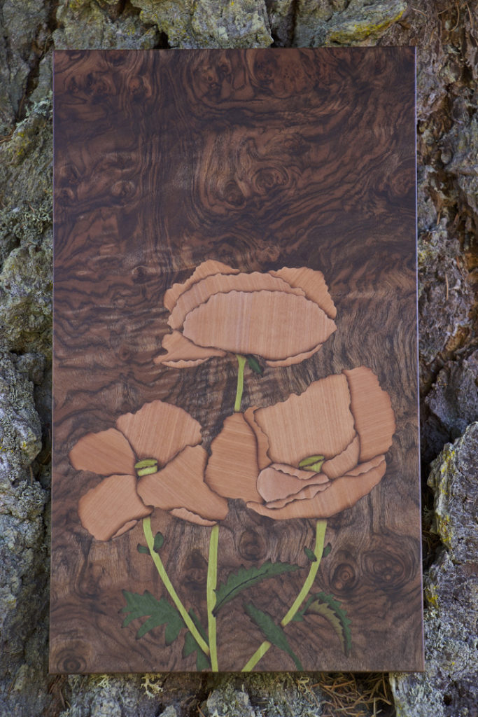 veneer, wood veneered artwork, bespoke, bespoke art, woodworking, custom art, custom art wall panel, fine woodworking, artwork, art wall panel, wood art, wood artwork, luxury art, luxury yacht, fine art, poppy, poppies, marquetry, walnut burl, Swiss pear,
