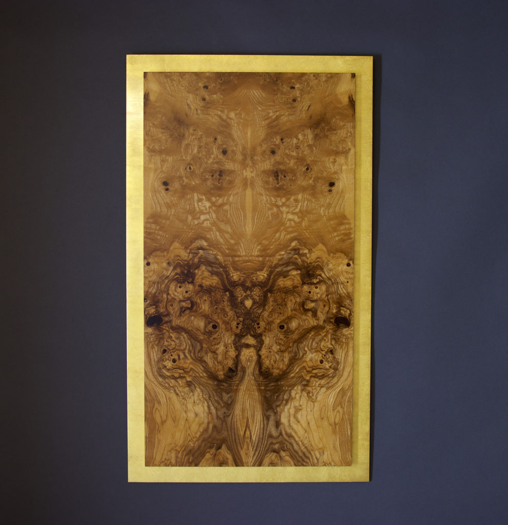 veneer, wood veneered artwork, bespoke, bespoke art, woodworking, custom art, custom art wall panel, fine woodworking, artwork, art wall panel, wood art, wood artwork, luxury art, luxury yacht, fine art, olive ash burl, gold leaf,