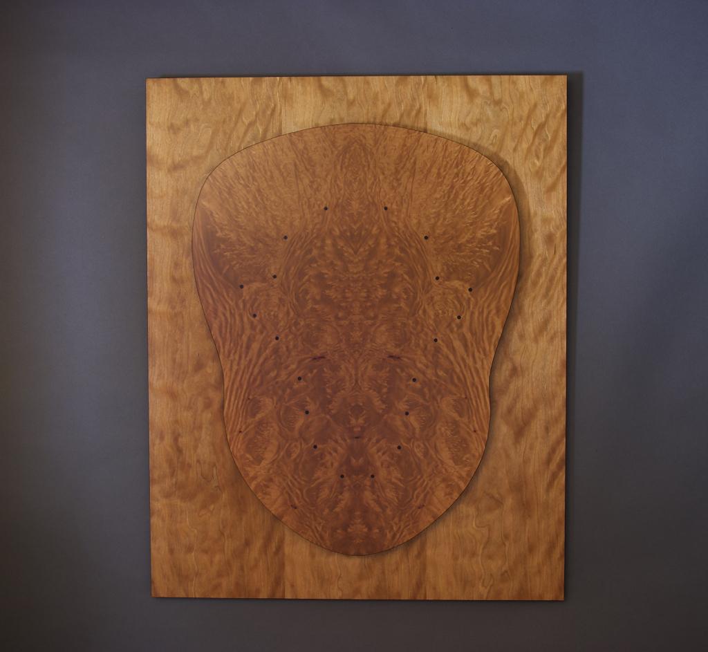 veneer, wood veneered artwork, bespoke, bespoke art, woodworking, custom art, custom art wall panel, fine woodworking, artwork, art wall panel, wood art, wood artwork, luxury art, luxury yacht, fine art, madrona burl, cherry,