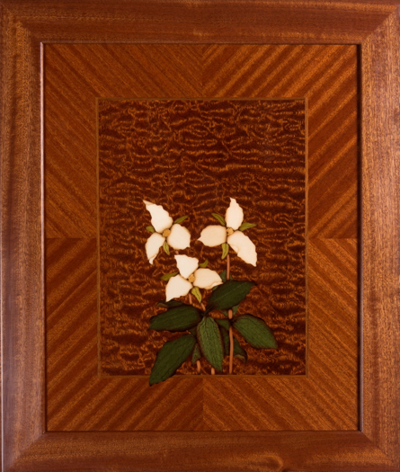 trillium, marquetry, sapele, veneer, wood veneered artwork, bespoke, bespoke art, woodworking, custom art, custom art wall panel, fine woodworking, artwork, art wall panel, wood art, wood artwork, luxury art, luxury yacht, fine art,