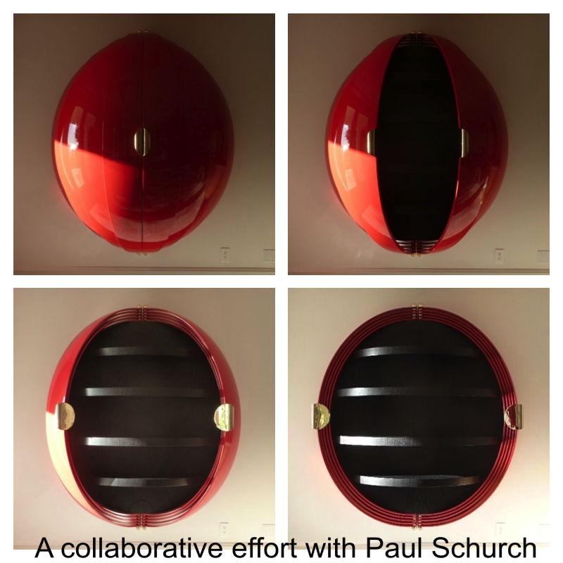 Ball Cabinet collaboration with Paul Schurch gold plated hardware