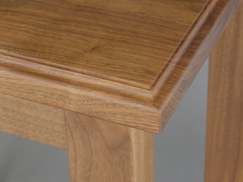 walnut end table detail close up furniture solid wood, veneer, wood veneered artwork, bespoke, bespoke art, woodworking, custom art, custom art wall panel, fine woodworking, artwork, art wall panel, wood art, wood artwork, luxury art, luxury yacht, fine art,
