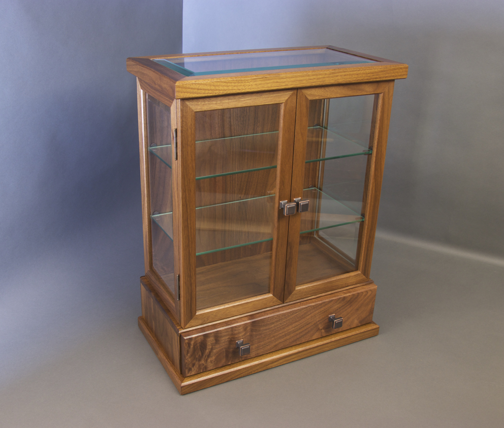 Curio Cabinet, woodwork, walnut, cabinetry, display case, beveled glass
