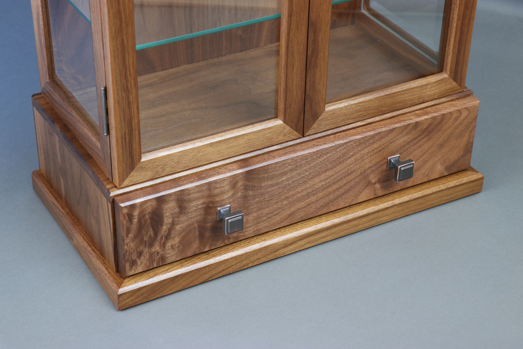 Curio Cabinet detail, walnut, woodwork, display case,