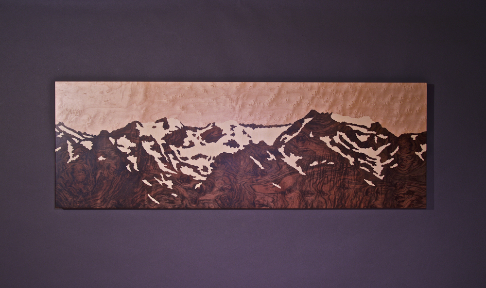 Olympic Mountains Snow Melt, marquetry, veneer art, wood veneer,