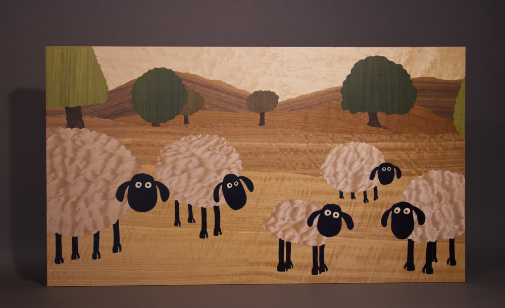 veneer, wood veneered artwork, bespoke, bespoke art, woodworking, custom art, custom art wall panel, fine woodworking, artwork, art wall panel, wood art, wood artwork, luxury art, luxury yacht, fine art, quilted maple, walnut, sheep, anegre, cherry,