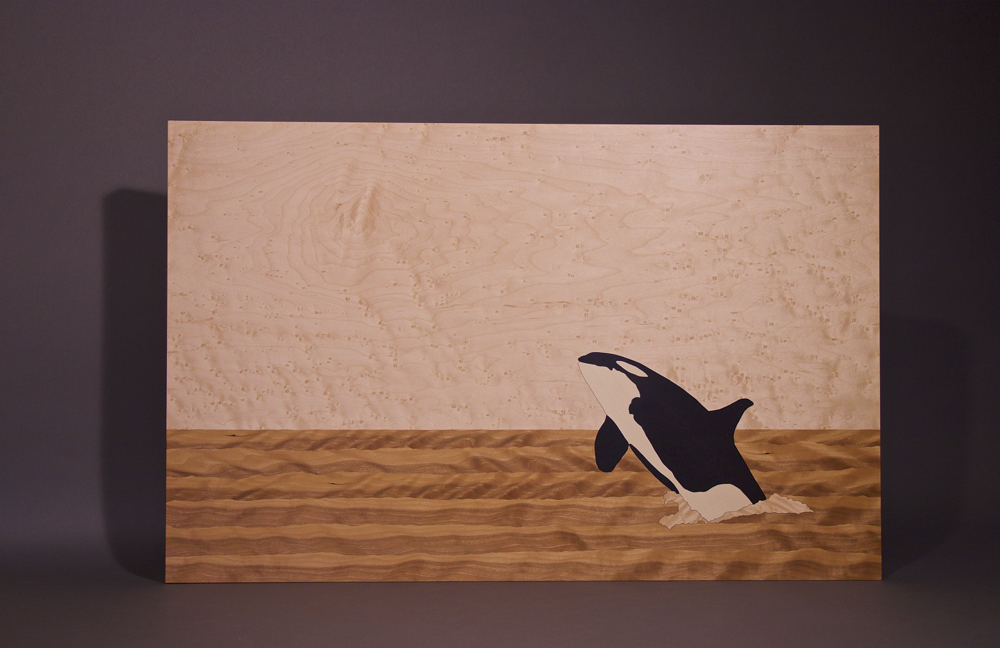 veneer, wood veneered artwork, bespoke, bespoke art, woodworking, custom art, custom art wall panel, fine woodworking, artwork, art wall panel, wood art, wood artwork, luxury art, luxury yacht, fine art, orca whale, Birdseye maple, figured cherry, holly,