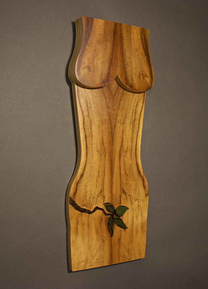 veneer, wood veneered artwork, bespoke, bespoke art, woodworking, custom art, custom art wall panel, fine woodworking, artwork, art wall panel, wood art, wood artwork, luxury art, luxury yacht, fine art, pepper wood burl, apple branch, female figure, walnut branch, apple branch, marquetry,