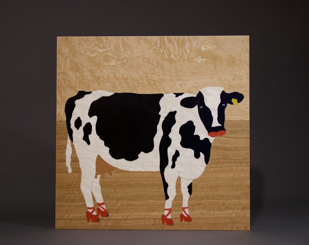 veneer, wood veneered artwork, bespoke, bespoke art, woodworking, custom art, custom art wall panel, fine woodworking, artwork, art wall panel, wood art, wood artwork, luxury art, luxury yacht, fine art, whimsical, cow, red high heals, red lipstick cow, figured anegre, Birdseye maple,