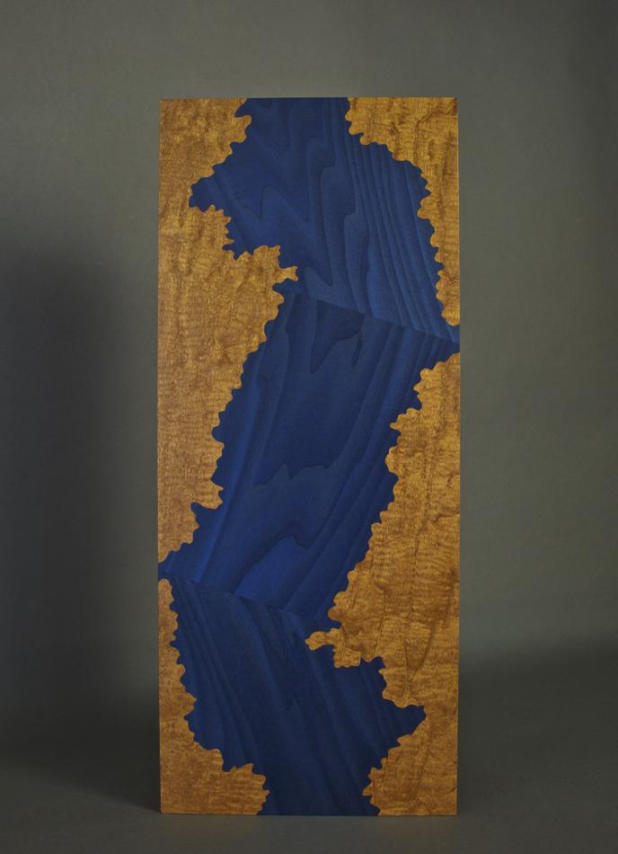 veneer, wood veneered artwork, bespoke, bespoke art, woodworking, custom art, custom art wall panel, fine woodworking, artwork, art wall panel, wood art, wood artwork, luxury art, luxury yacht, fine art, El Loco mahogany, dyed poplar, blue,