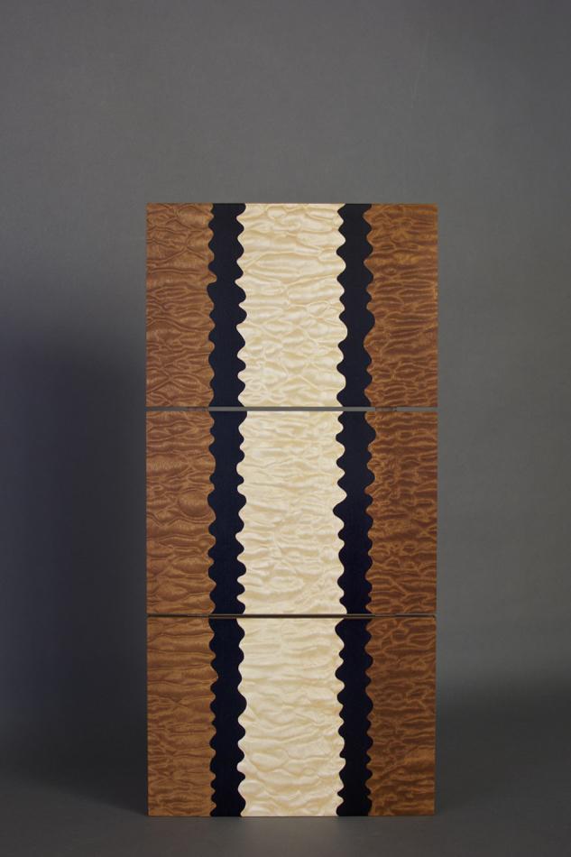 veneer, wood veneered artwork, bespoke, bespoke art, woodworking, custom art, custom art wall panel, fine woodworking, artwork, art wall panel, wood art, wood artwork, luxury art, luxury yacht, fine art, pommele sapele, quilted maple, triptych,