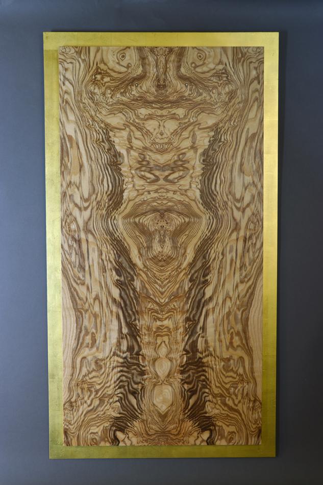 veneer, wood veneered artwork, bespoke, bespoke art, woodworking, custom art, custom art wall panel, fine woodworking, artwork, art wall panel, wood art, wood artwork, luxury art, luxury yacht, fine art, gold leaf, olive ash burl, elephant,