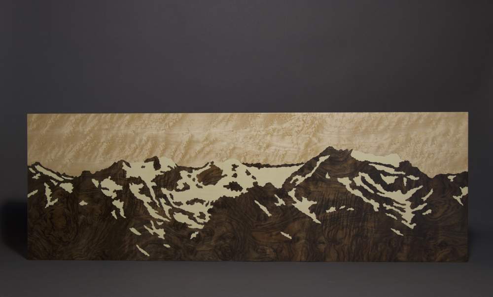 Olympic Mountains Snow Melt, marquetry, veneer art, wood veneer, veneer, wood veneered artwork, bespoke, bespoke art, woodworking, custom art, custom art wall panel, fine woodworking, artwork, art wall panel, wood art, wood artwork, luxury art, luxury yacht, fine art,