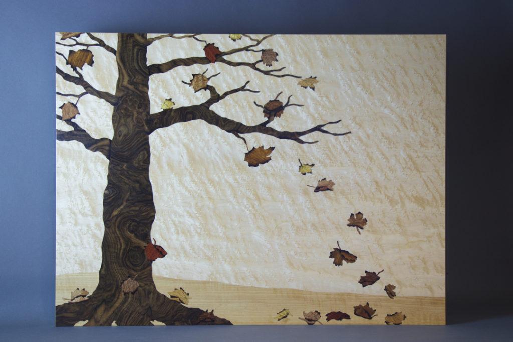veneer art, bespoke, bespoke art, bespoke artwork, veneer artwork, veneer art wall panel, fall art, maple tree art, fall colors, tree art
